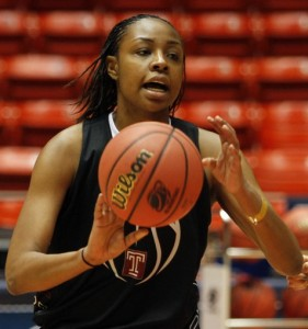 Rick Egan   |  The Salt Lake Tribune Temple forward, Brittany Lewis (1)passes the ball during a drill, during the Owls practice, at the Jon M. Huntsman Center in Salt Lake City, Friday, March 18, 2011