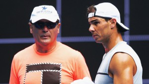 MELBOURNE, AUSTRALIA - JANUARY 11: Rafael Nadal of Spain walks in front of coach Tony Nadal during a practice session ahead of the 2017 Australian Open at Melbourne Park on January 11, 2017 in Melbourne, Australia. (Photo by Michael Dodge/Getty Images)