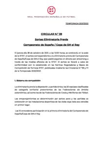 CIRCULAR SORTEO ELIMINATORIA PREVIA COPA DEL REY
